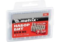Биты MATRIX SL5,0 x 25 мм, сталь 45Х, 20 шт., в пласт.боксе
