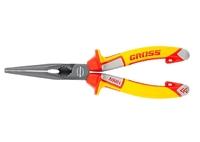 Длинногубцы GROSS прямые, диэлектрические рукоятки до 1000 В, трехкомпонентные рукоятки, 205 мм