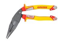 Длинногубцы GROSS с изогнутой головой, комбинированные, диэлектрические рукоятки до 1000 В, 200 мм.