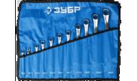 """Набор ЗУБР """"ПРОФИ"""": Ключ гаечный накидной изогнутый, Cr-V сталь, 8-27мм, 11шт"""