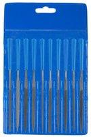 """Набор надфилей ЗУБР """"ЭКСПЕРТ"""", пластмассовая ручка, бархатная насечка, с чехлом, 100мм, 10шт"""
