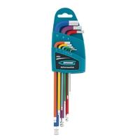 Набор ключей имбусовых Gross HEX, 1,5–10 мм, S2, 9 шт., магнит, экстра-длин. с шаром, хром/краска