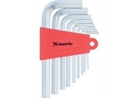 Набор ключей имбусовых MATRIX HEX, 1,5–10 мм, CrV, 9 шт., короткие, сатин.