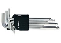 Набор ключей имбусовых MATRIX HEX, 1,5–10 мм, CrV, 9 шт., удлиненные, сатин., с шаром