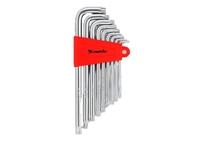Набор ключей имбусовых MATRIX TORX, 9 шт: T10-T50, CrV, удлиненные, сатин.
