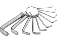 Набор ключей имбусовых SPARTA HEX, 1,5–10 мм, CrV, 10шт.,никелированный, на кольце