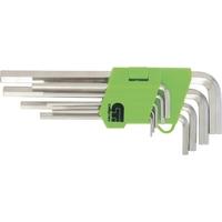 Набор ключей имбусовых Сибртех HEX, 1,5–10 мм, 45x, закаленные, 9 шт., удлиненные , никель.