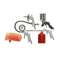 Набор пневмоинструмента, 5 предметов, быстросъемное соед., краскорасп. с нижним бачком MATRIX