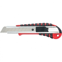 Нож, 18 мм выдвижное лезвие металлическая направляющая эргоном. двухкомпонентная рукояткаMATRIX