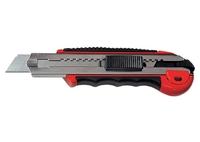 Нож, 18 мм, выдвижное лезвие, метал. направляющая, обрезиненная ручка + 5 лезвий MATRIX MASTER