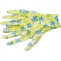 Перчатки садовые из полиэстера с нитриловым обливом, зеленые PALISAD