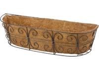 Пристенное кашпо с декором, 74 х 20 см, с кокосовой корзиной PALISAD