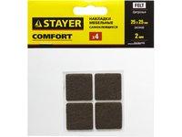 Накладки STAYER на мебельные ножки, самоклеящиеся, фетр. коричневые, квадратные - 25*25 мм, 4 шт