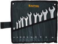 """Набор KRAFTOOL """"EXPERT"""": Ключи гаечные комбинированные, Cr-V сталь, хромированные, 6-22мм, 10шт"""