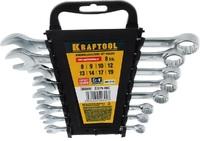 """Набор KRAFTOOL """"EXPERT"""": Ключи гаечные комбинированные, Cr-V сталь, хромированные, 8-19мм, 8шт"""