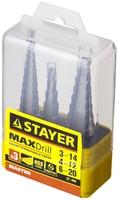 """Набор STAYER """"MASTER"""": Ступенчатые сверла по сталям и цвет.мет., сталь HSS, d=3-14мм,12ступ. d 4-12"""