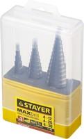 """Набор STAYER """"MASTER"""": Ступенчатые сверла по сталям и цвет.мет., сталь HSS, d=4-12мм,5 ступ. d 4-20"""