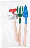Набор РОСТОК для ухода за комнатными растениями с деревянными ручками: Вилка, грабельки, совок, 3 п