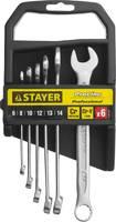 """Набор: Ключ STAYER """"PROFI"""""""" гаечный комбинированный, Cr-V сталь, хромированный, 6-14мм, 6шт"""