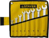 """Набор: Ключ STAYER """"PROFI"""""""" гаечный комбинированный, Cr-V сталь, хромированный, 6-17мм, 8шт"""