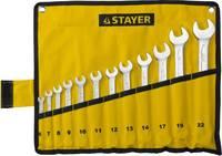"""Набор: Ключ STAYER """"PROFI"""""""" гаечный комбинированный, Cr-V сталь, хромированный, 6-22мм, 12шт"""