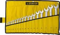 """Набор: Ключ STAYER """"PROFI"""""""" гаечный комбинированный, Cr-V сталь, хромированный, 6-32мм, 18шт"""