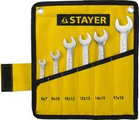 """Набор: Ключ STAYER """"PROFI"""""""" гаечный рожковый, Cr-V сталь, хромированный, 6-19мм, 6шт"""