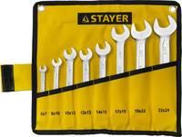 """Набор: Ключ STAYER """"PROFI"""""""" гаечный рожковый, Cr-V сталь, хромированный, 6-24мм, 8шт"""