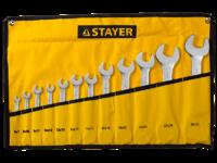 """Набор: Ключ STAYER """"PROFI"""""""" гаечный рожковый, Cr-V сталь, хромированный, 6-32мм, 12шт"""