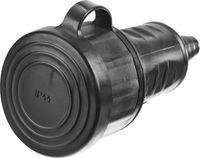 Розетка СИБИН электрическая ударопрочная, с заземлением, 16А/220В, IP44, черная