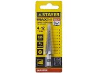 """Сверло STAYER """"MASTER"""" ступенчатое по сталям и цвет.мет., сталь HSS, d=4-12мм, 9ступ.d 4-12, L- 65"""