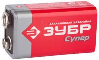 "Батарейка Зубр ""TURBO"" щелочная (алкалиновая), тип 6LR61(крона), 9В, 1шт на карточке"