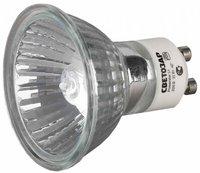 Лампа галогенная СВЕТОЗАР с защитным стеклом, алюм. отражатель, цоколь GU10, 220В