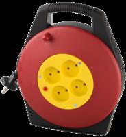 Удлинитель СВЕТОЗАР электрический на катушке в закрытом корпусе, евро, 4 гнезда, 10м